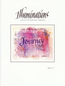 Illuminations, issue 111; Front Cover, Carole Youds, from Lisa Engelbrecht's Lettering on Fabric workshop